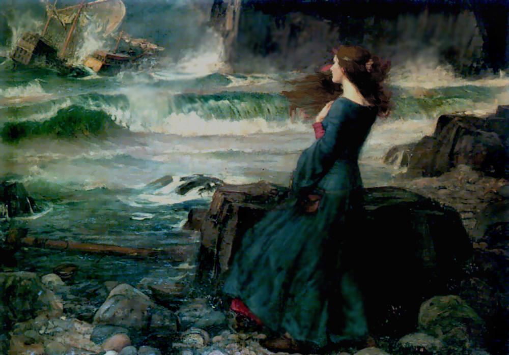Miranda in Shakespeare's The Tempest as painted by John William Waterhouse